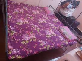 Solid Iron Double bed with Sesham wood