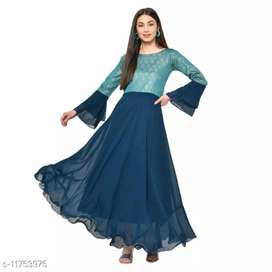Trendy Women Gowns Fabric: Georgette  Sleeve Length: Three-