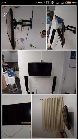 "Pemasangan dudukan bracket TV LED LCD PLASMA dll, ukuran 16""-65"""