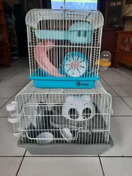 Jual 2 Kandang Hamster Satu Paket Lengkap Merk Dayang Besar & Kecil