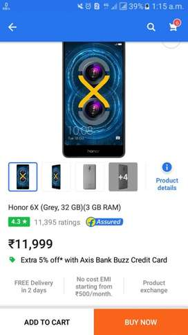 Honour 6x Purchased On 23.01.18. MOBILE PHONE SMART PHONE
