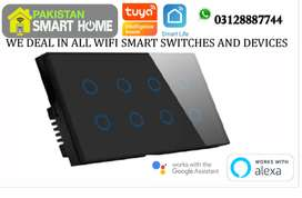 8 Gang Smart Wifi wall touch switch work with Google Home and Alexa