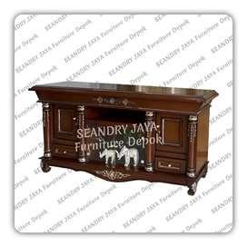 SEANDRY JAYA Furniture Depok/Bufet kayu  ukir rak tv/meja rtv murah