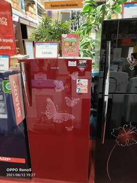 Kulkas Sanken 1pintu warna red bisa dicicil tanpa kartu kredit