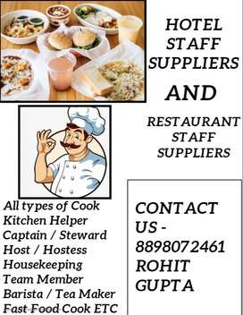 We Provide Hotel Staff-Restaurant Cafe Staff / Helper Waiter Cook Chef