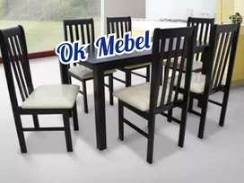 OK MEBEL Meja Kursi Makan Kayu 6 Orang