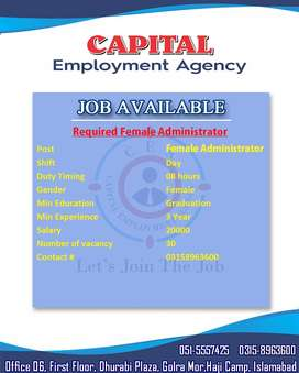 Urgently Required Administrator (Female Only)