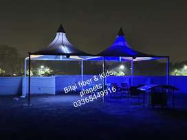 Tensile fabric structure shades