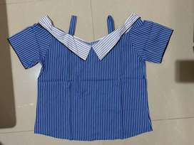 blouse garis biru