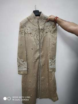 Sherwani for Men(off white colour with golden touch) used only once