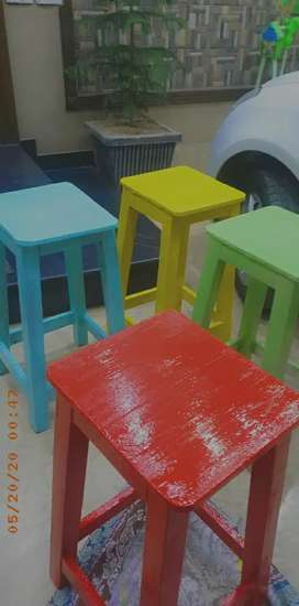 4 wooden stool with tabe