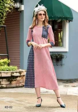 Linen khadi kurti and dola silk bandhni saree