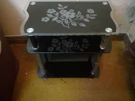 Tv Trolley or Corner Table  Cristal Glass top base available For Sale