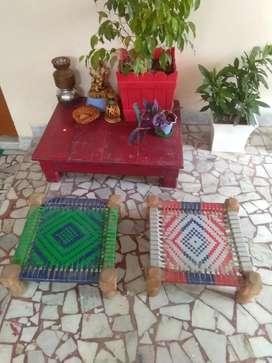Wooden moodha satty (set of 2 charpai mudha)