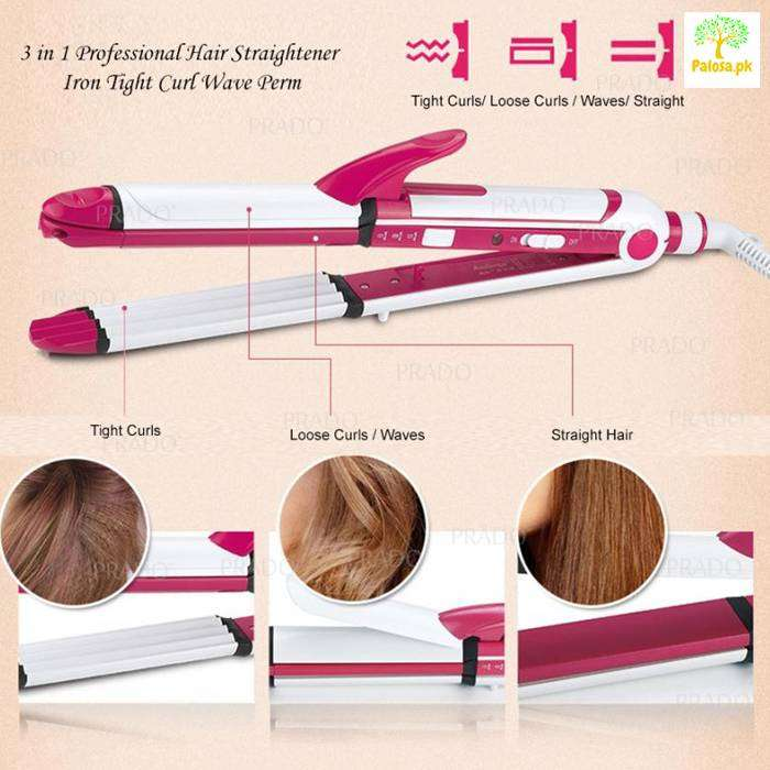 KEMEI 3IN1 PROFESSIONAL HAIR CURLER FOR GIRLS,CURLER, ROLLER,STRAIGHTN 0