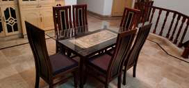 Virsachi Dining Table With 6 Chairs and 12mm Glass