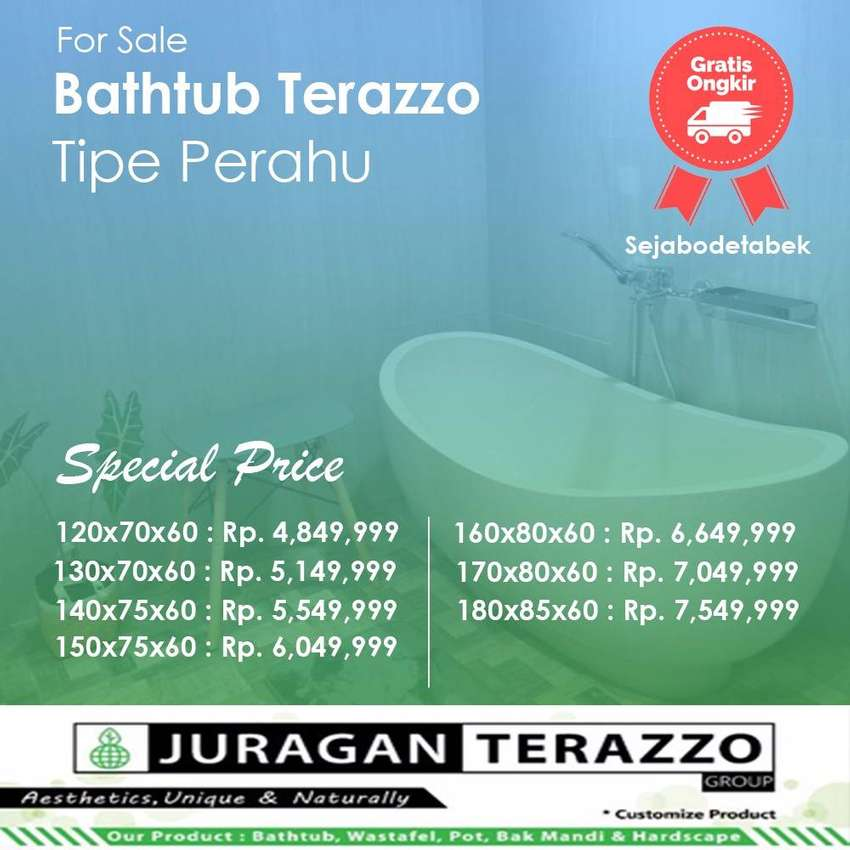 Bathtub Perahu Parvaiz Terazzo P160cm