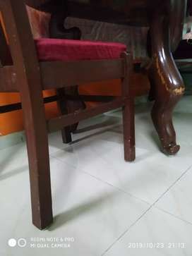 Glass top solid wood table with 4 chairs