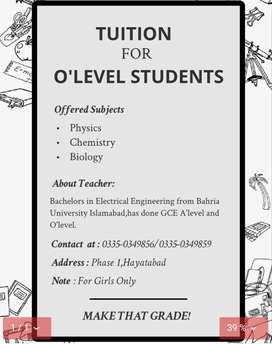 Tuition for O'level Students
