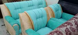 Sofa set five seats blue colour