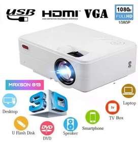 2500LM MAXSON 813 HD 1080P LED PROJECTOR USB HDMI VGA AV SD TV AUX