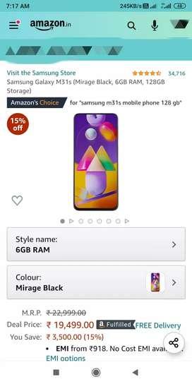 Samsung Galaxy m31s 6 gb ram 128 gb rom one month old