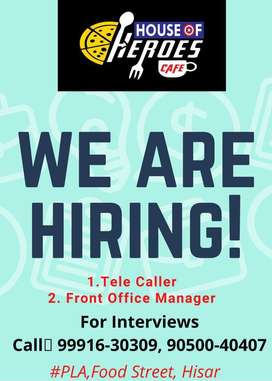 Required Front desk staff for Resturant Cafe