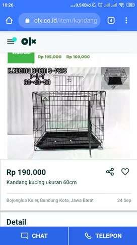 Kandang untuk kucing ukuran 60cm