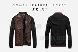 Jaket Comby Cotton Leather Dark Brown Style