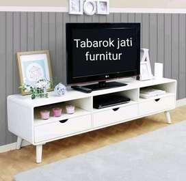 Meja tv retro kapsul warna moderen laci 3, P.150, bahan kayu jati asli