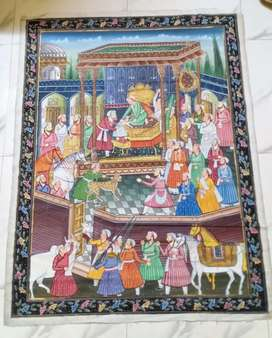 mid 20th century gouache -mughal darbar scene on silk