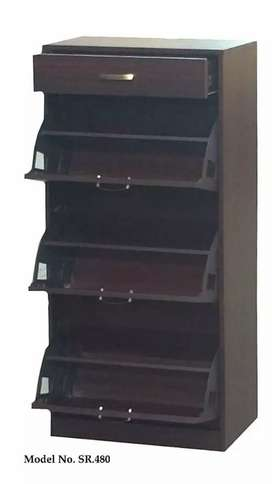 Shoe rack with foldable cabins