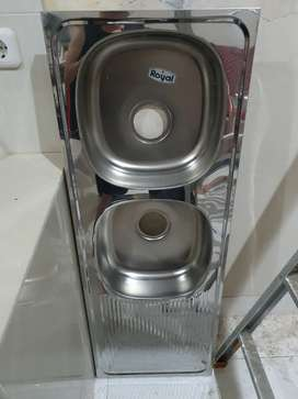 Bak Cuci Piring Royal SB22, 2 lubang dengan meja samping pengering