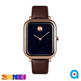 Jam tangan analog cowok cewek skmei original black brown ab9187 leathe