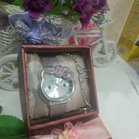 Set jam tangan hello Kitty mewah steinless dan gelang serut pita
