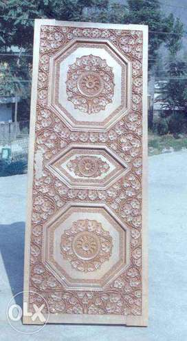 Walnut Wood Home Doors With Kashmiri Style Carving size 7x5 ft (Pair)