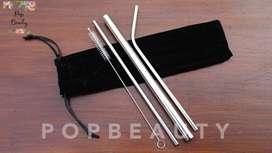 Sedotan Stainless Premium Silver Set 5 pcs Velvet Pouch