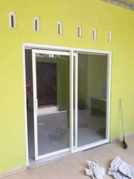 Pintu kaca alumunium putih silver cokelat hitam