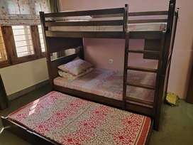 kids bunk bed solid wood with mattress for sale
