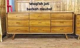 (meja tv Waqi'ah) meja tv model Retro modern laci 9, P. 150cm