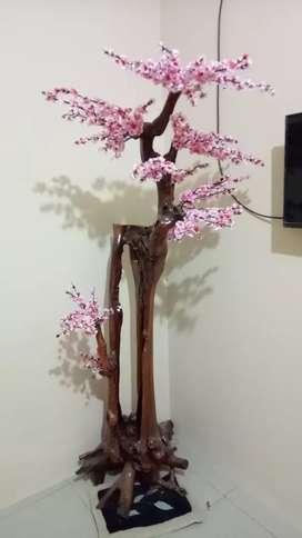 Hiasan bunga sakura kayu jati
