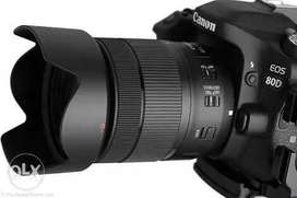 Hire on rent Camera 80D with lens 18-135 Canon 1000/-b