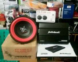 "Plus Pasang,Subwofer PEGASUS 10""+Power Audiobank+Tweeter+Box mdf+Kabel"