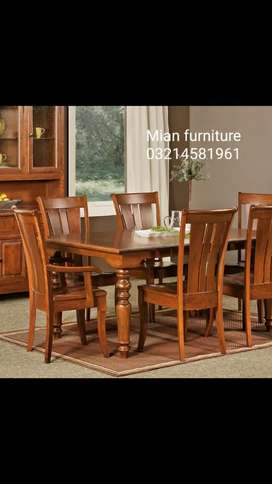Elegant wooden top Dining table with six chairs