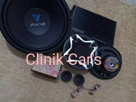 Paket audio mobil: subwoofer jeacar, power agako& split cubig wolf**
