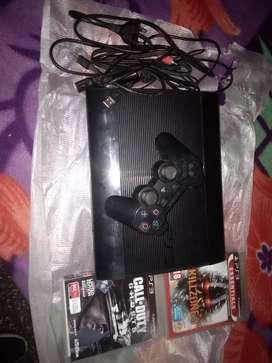 ps3 with  two games cd