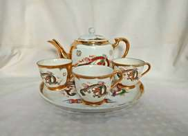 set minum keramik jepang antik gambar naga dan burung hong
