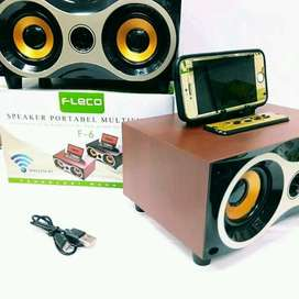 Speaker Bluetooth Portable Desain Kayu Fleco F-6