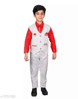 NVH Kids Boys Waistcoat, Shirt And Pant Set With Tie, Brooch