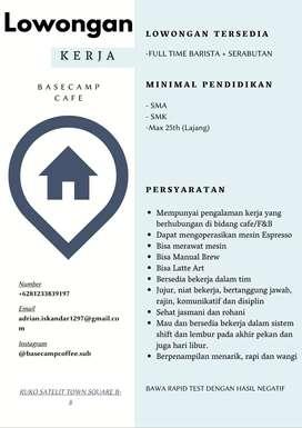 Dicari Barista (Perempuan) Full Time+Serabutan Area Surabaya Barat
